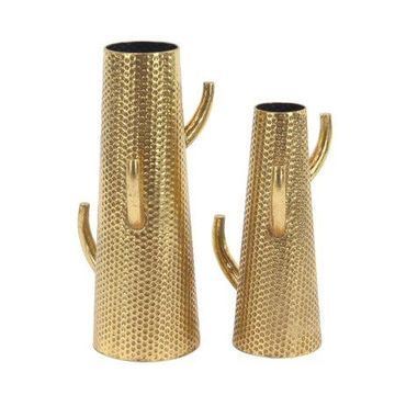 Decmode Set of 2 Modern Dimpled Cactus Iron Vases, Gold
