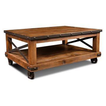 Sunset Trading Rustic City Coffee Table| Cocktail Table| Shelf | Wheel