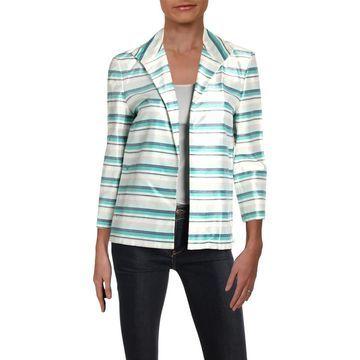 Lafayette 148 New York Womens Ramira Striped Open Front Jacket
