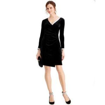 Msk Velvet Embellished Faux-Wrap Dress