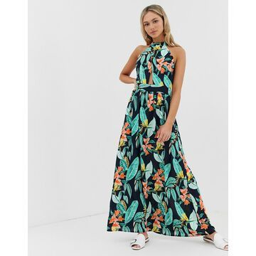 QED London high neck tie back maxi dress in floral print