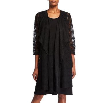 Textured Long Draped Open-Front Cardigan