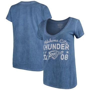 Women's Majestic Threads Navy Oklahoma City Thunder City Over Pop Premium V-Neck T-Shirt