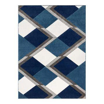 Well Woven Good Vibes Nora Modern Geometric 3D Textured Area Rug, Blue, 8X10.5 Ft