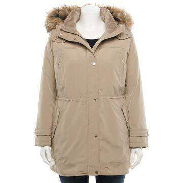Plus Size Gallery Faux-Fur Hood Anorak Jacket