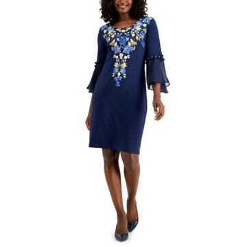 Jm Collection Parisian Holiday Printed Rhinestone Bell-Sleeve Dress, Created for Macy's