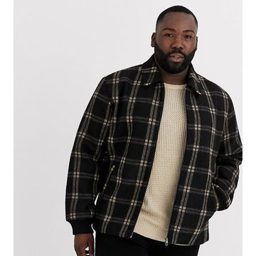 Only & Sons window pane check zip through trucker jacket in gray