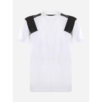 Les Hommes Cotton T-shirt With Contrasting Leather Inserts