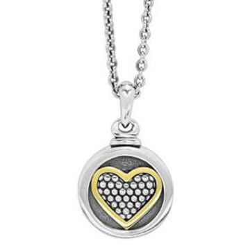 Caviar Locket Necklace w/ 18k Gold Heart