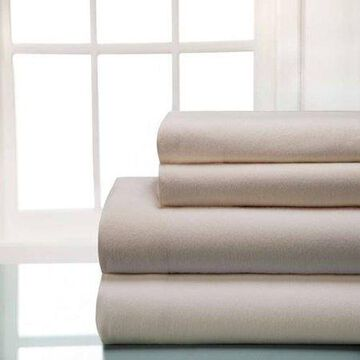 Winter Nights Cotton Flannel Sheet Set, Elite Home Products, Off, White, King