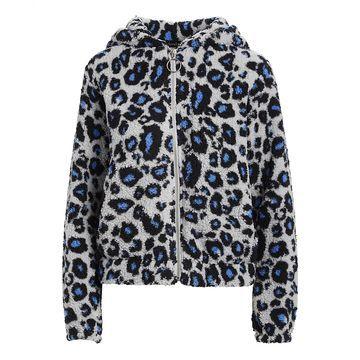 Derek Heart Women's Sweatshirts and Hoodies CORNFLOWER - Cornflower Blue Leopard Print Zip-Up Hoodie - Juniors