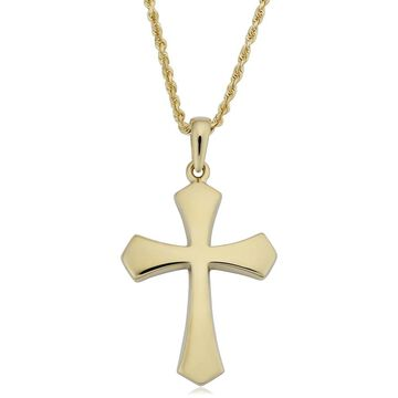 Fremada 14k Yellow Gold High Polish Cross Pendant on Rope Chain Necklace (20 inches)