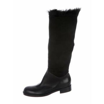 Suede Riding Boots Black