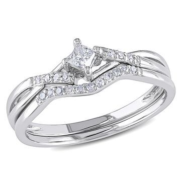 Miadora 10k White Gold 1/5ct TDW Diamond Bridal Set