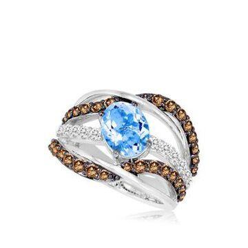 Le Vian 1/3 Ct. T.W. Vanilla Diamond, 1.05 Ct. T.W. Chocolate Diamond, And 1.38 Ct. T.W. Aquamarine Ring In 14K White Gold -