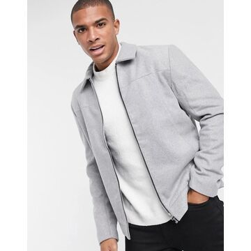 Only & Sons smart wool mix harrington jacket in light gray