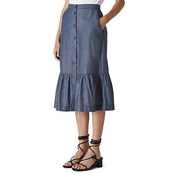 Whistles Chambray Midi Skirt