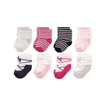 Luvable Friends Girls' Socks Stripe - Pink Stripe Ballet Eight-Pair Sock Set - Infant