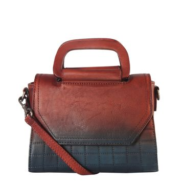 Diophy Genuine Leather Quilted Medium Top Handle Handbag