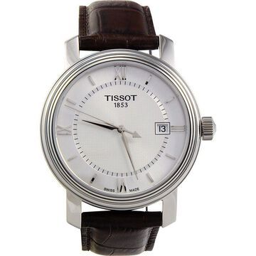 Tissot Men's T097.410.16.038.00 'Bridgeport' Silver Dial Brown Leather Strap Swiss Quartz Watch
