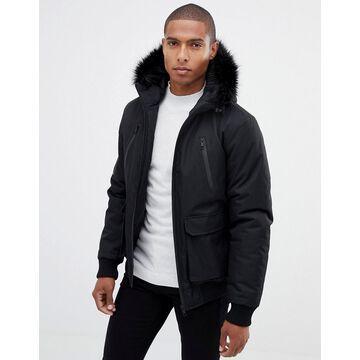 Brave Soul Premium Faux Fur Hooded Bomber Jacket