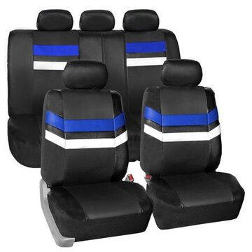 FH Group Varsity Spirit PU Leather Universal Fit Blue Car Seat Covers
