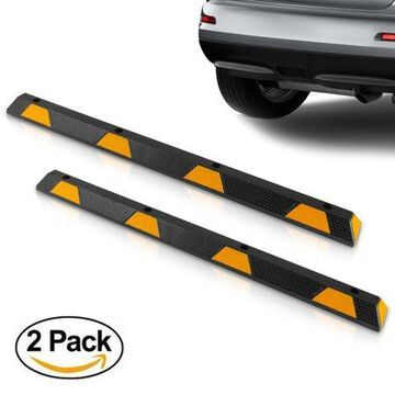 Pyle PCRSTP14X2 - Car Wheel Stops - Vehicle & Truck Parking Curb Tire Stops, Heavy-Duty Rubber Tire Blocks (Extra Wide Style)
