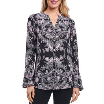 Foxcroft Womens Paisley Bell Sleeves Blouse