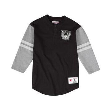 Mitchell & Ness Men's Oakland Raiders Team Logo Henley Top