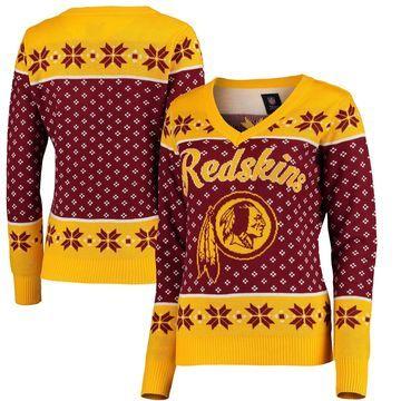 Washington Redskins Klew Women's Big Logo V-Neck Sweater - Burgundy