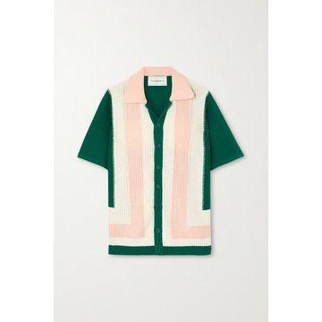 Casablanca - Yass Color-block Cotton Top - Green