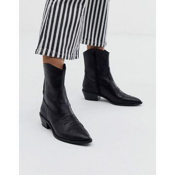 Bershka western leather ankle boot in black