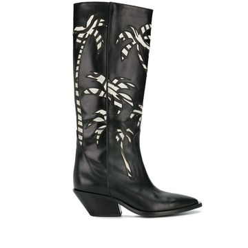 palm embroidered knee-high boots