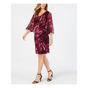 CONNECTED APPAREL Womens Purple Printed Chiffon Sleeve Kimono Sleeve Cowl Neck Above The Knee Sheath Party Dress Size: 10
