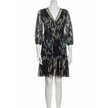 Printed Knee-Length Dress Black