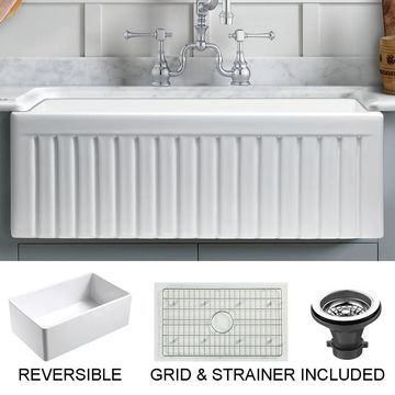 Sutton Place Reversible Farmhouse Fireclay 24 in. Single Bowl Kitchen Sink in White with Grid and Strainer