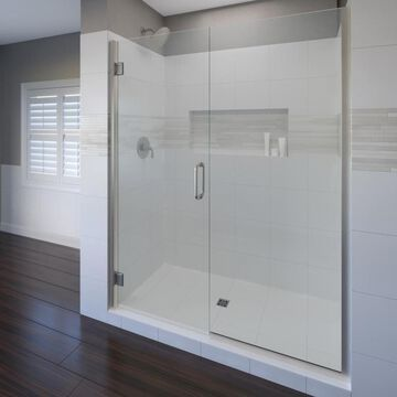 Basco Coppia 72-in H x 46.0625-in to 47.5625-in W Frameless Hinged Brushed Nickel Shower Door (Clear Glass)