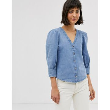 Monki denim v-neck blouse with puff sleeves in blue