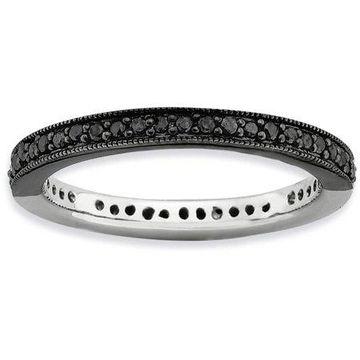 Half Black/White Diamond Sterling Silver Polished Ring