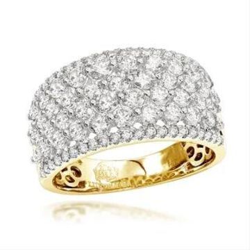 Luxurman Unique Bands Women's 14k Gold Wide 2ct Diamond Ring