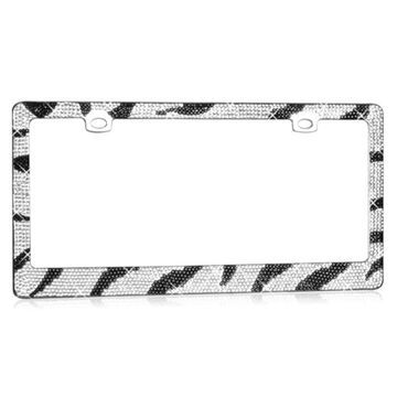 Insten Zebra Pattern with Shining Black and White Crystals Chrome Metal Frame