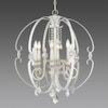 Golden Lighting Ella 6-Light French White Glam Globe Chandelier