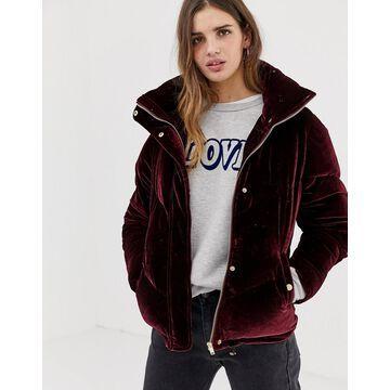 QED London velvet chevron padded jacket