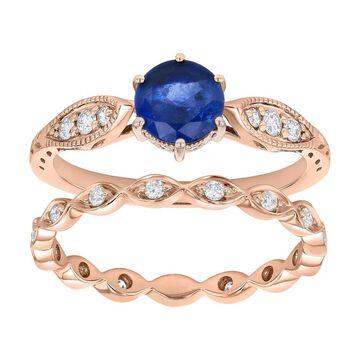 14k Rose Gold 1 1/3ct Diamonds and Round Blue Sapphire Vintage Wedding Set