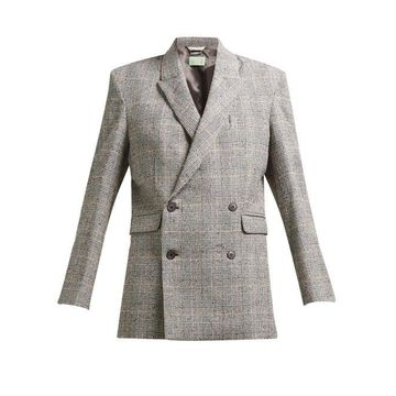 Aries - Prince Of Wales Check Cotton Blend Boucle Blazer - Womens - Grey