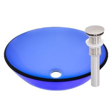 Novatto Blue Glass Bathroom Vessel Sink Set