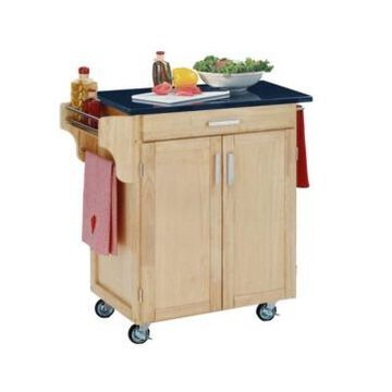 Home Styles Cuisine Cart Natural Finish Granite Top