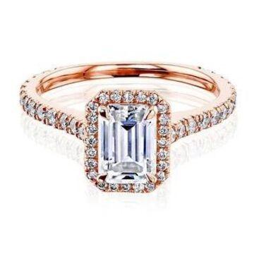 Annello by Kobelli 14k Gold Emerald Cut Moissanite Halo Engagement Ring (GH/VS, DEF/VS)