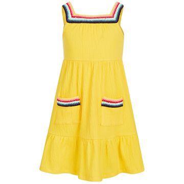 Little Girls Crochet-Trim Crinkle Dress, Created for Macy's