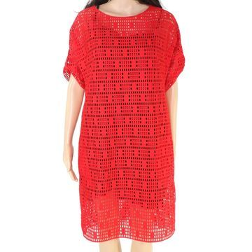 Akris Women's Red Size 6 Laser Cut Roll Tab Scoop Neck Sheath Dress